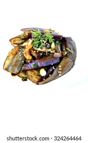 Gaji Namul - Korean steamed egg plant with herb, spices, dried prawn and sesame seeds