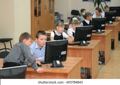 Gajievo, Russia - September 21, 2010: Students at the lesson in the computer lab