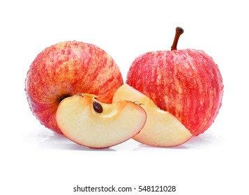 gala apples with drops of water on white background