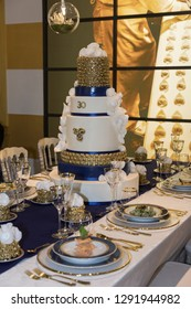 Gala Banquet: Luxury Decorations for Table with Sumptuous Centerpiece.