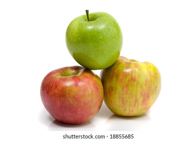Gala and Granny Smith apples isolated on white