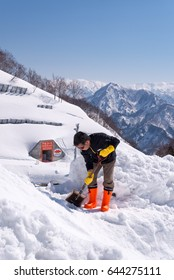 Gala Yuzawa,Japan - Mar 30 , 2017:authorities prepare ski area for tourism playing snow in winter outdoors on 30 March 2017.