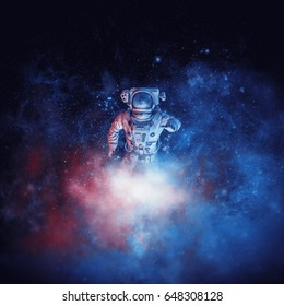 Galactic cloud astronaut / 3D illustration of astronaut among glowing space dust