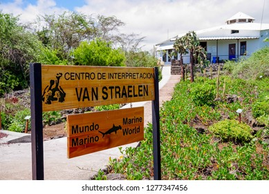 GALAPAGOS, ECUADOR, NOVEMBER 29, 2018: Van Straelen Research Station of Marine life located in Chareles Darwin station, founded in 1959, under the auspices of UNESCO and the World Conservation Union