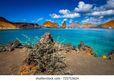 The Galapagos Islands. Ecuador. View of two beaches on Bartolome Island
