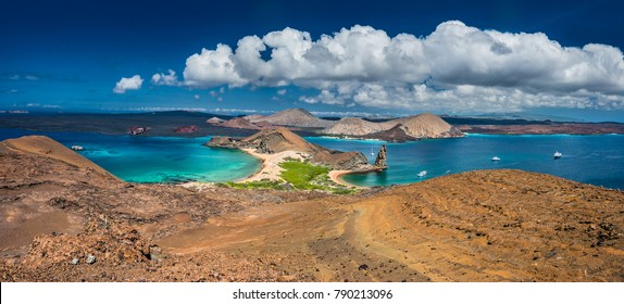 The Galapagos Islands. Panorama of the Galapagos Islands from the height of the island of Bartolome, Galapagos. Ecuador.