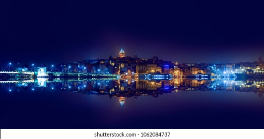 Galata Tower, Galata Bridge, Karakoy district and Golden Horn at night, istanbul - Turkey