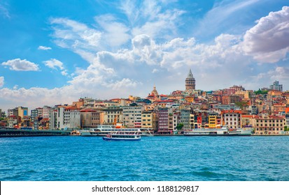 Galata Tower, Galata Bridge, Karakoy district and Golden Horn at morning, istanbul - Turkey