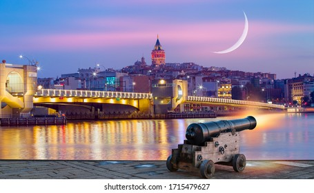 Galata Tower, Galata Bridge, Karakoy district and Golden Horn at night, istanbul - Turkey - Ramadan Concept - Ramadan kareem cannon with crescent