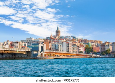 Galata Tower, Galata Bridge, Karakoy district and Golden Horn at morning, istanbul - Turkey