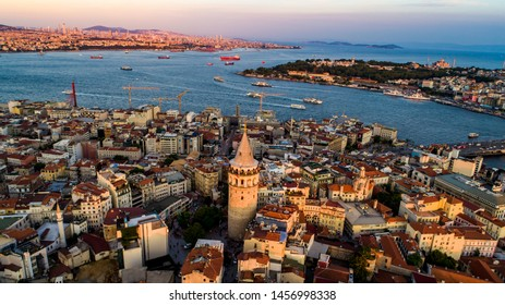 Galata tower. Istanbul city landscape aerial view
