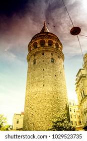 The Galata tower in Istanbul, Turkey. Galata Bridge, Karakoy district and Golden Horn, istanbul