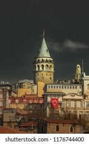 Galata Tower in Istanbul Turkey in dramatic light