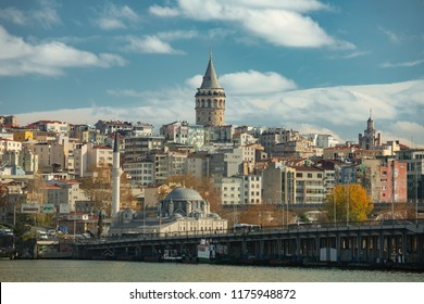 Galata Tower from sea in Istanbul Turkey