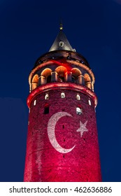 Galata Tower with turkish flag light show at night from istanbul