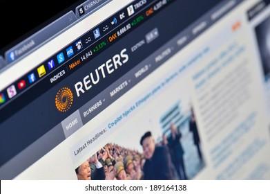 GALATI, ROAMANIA- February 14: Photo of Reuters homepage on a monitor screen, on 14 February, 2014, Galati, Romania