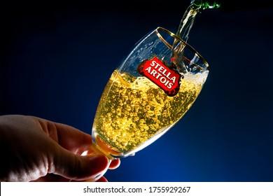 Galati - Romania 14.06.2020 : glass of Stella Artois  beer on a natural background.