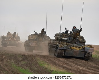 GALATI, ROMANIA - APRIL 20, 2017 : american and romanian soldiers during JUSTICE EAGLE military exercise in Smardan polygon from Galati county, Romania; 20 APRIL 2017