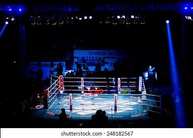 GALATI, ROMANIA - DECEMBER 21: Empty fighting ring at Superkombat World Grand Prix finals, on December 21, Galati Romania