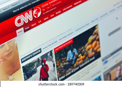 Galati, Romania - February 14: Photo of CNN homepage on a monitor screen, on 14 February, 2014, Galati, Romania