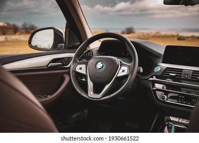 Galati, Romania - February 27, 2021: 2021 BMW iX3 steering wheel