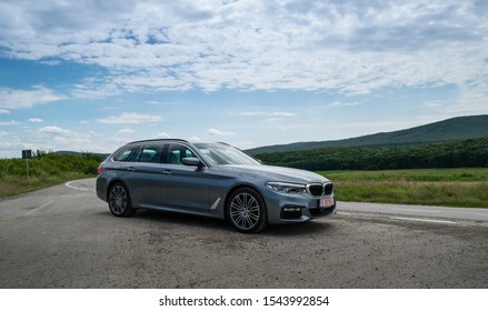 Galati, Romania - July 18 2017: BMW 530d Touring front 3/4 view