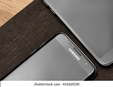 GALATI, ROMANIA - MARCH 15, 2016: Samsung Galaxy S7 and Galaxy S7 Edge launch in a local store from Galati city, Romania
