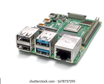 Galati, ROMANIA - March 20, 2020: Close-up of a Raspberry Pi 4 Model-B. The Raspberry Pi is a credit-card-sized single-board computer developed in the UK by the Raspberry Pi Foundation. isolated