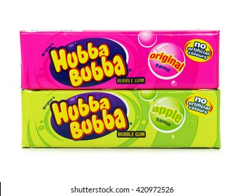 """GALATI, ROMANIA - MAY 12, 2016. Hubba Bubba Bubble gum, apple and original flavour, by Wrigley. The name comes from the phrase """"Hubba Hubba"""" used by soldiers during World War II to express approval."""