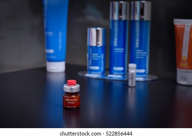 GALATI, ROMANIA - NOVEMBER 08, 2016: Intraceuticals colagen 3,5ml dose of skin treatment cream presented in a beauty salon