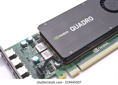 GALATI, ROMANIA - NOVEMBER 20, 2016: Professional video card from NVIDIA - Nvidia Quadro K1200 from a powerful workstation isolated on white