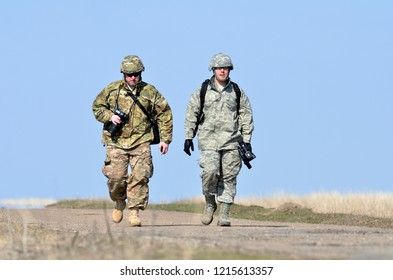 GALATI, ROMANIA - OCT 24: US military photographer and videograph in military polygon in the exercise Platinum Lynx 15 on Galati, Romania, 28 octl 2015.