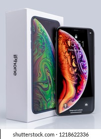 Galati, Romania - October 26, 2018: Apple launch the new smartphone iPhone XS and iPhone XS Max. iPhone Xs Max on glass table.