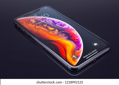 Galati, Romania - October 26, 2018: Apple launch the new smartphone iPhone XS and iPhone XS Max. iPhone Xs Max on black background.