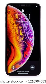 Galati, Romania - October 26, 2018: Apple launch the new smartphone iPhone XS and iPhone XS Max. iPhone Xs Max on white background.