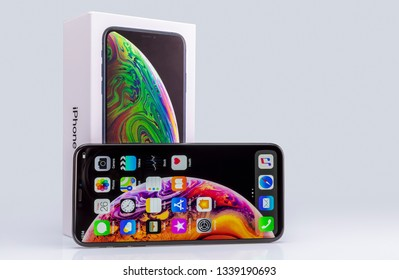 Galati, Romania - October 26, 2018: Apple launch the new smartphone iPhone XS and iPhone XS Max. iPhone Xs Max on gray background.