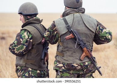 GALATI, ROMANIA - OCTOBER 8: Roman infantry submachine gun AK47 with caliber 7.62mm in Romanian military polygon in the exercise Smardan Danube Express 14 on Galati, Romania, 8 October 2014
