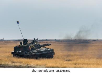 GALATI, ROMANIA - OCTOBER 8: Romanian tank TR 85M 'Bizonul' in Romanian military polygon in the exercise Smardan Danube Express 14 on Galati, Romania, 8 october 2014.