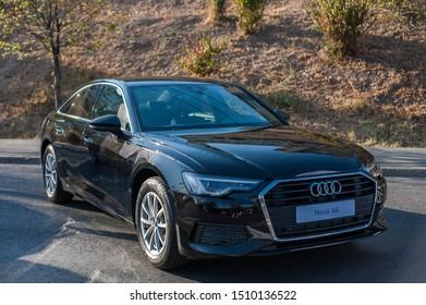 Galati, Romania - September 13, 2019: Grey Audi A6 C8 facelift front view