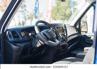 Galati, Romania - September 13, 2019: Iveco Daily 35-150 interior