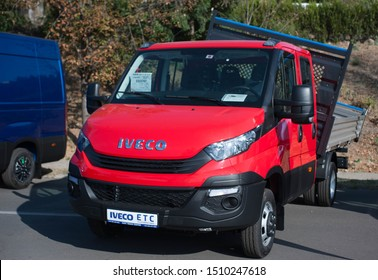 Galati, Romania - September 13, 2019: Red Iveco Daily 35-150 facelift front view