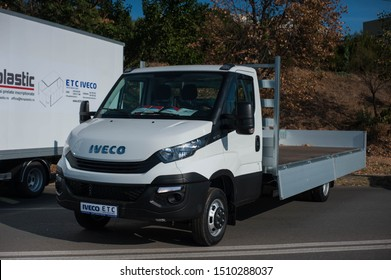 Galati, Romania - September 13, 2019: White Iveco Daily 50-150 facelift front view
