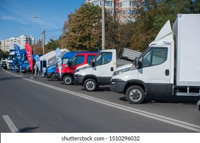 Galati, Romania - September 13, 2019: White Iveco Daily fleet front view