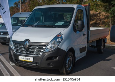 Galati, Romania - September 15, 2019: White Renault Master 3 facelift front view
