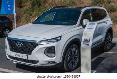 Galati, Romania - September 15, 2019: White Hyundai Santa Fe 4 TM facelift front view