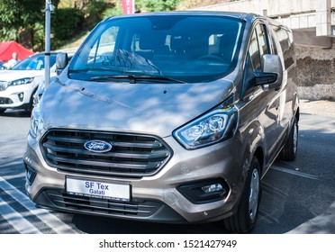 Galati, Romania - September 15, 2019: Gray Ford Transit 4 facelift front view