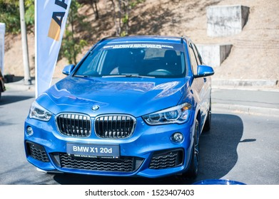Galati, Romania - September 15, 2019: Blue BMW X1 20d F48 facelift front view