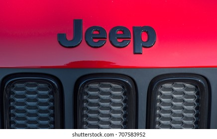 GALATI, ROMANIA - SEPTEMBER 2, 2017: Jeep is a brand of American automobiles that produce solely of sport utility vehicles and off-road vehicles, but has also included pickup trucks in the past.