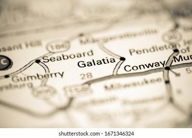 Galatia. North Carolina. USA on a geography map