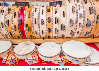 Galatina,Apulia,Italy 28 June 2016:Tambourines for sale on a stall in Galatina-Salento-Italy